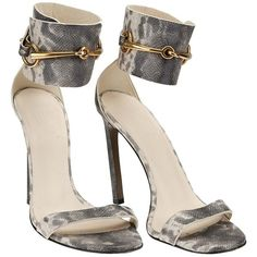 Gucci Grey Embossed Leather Horsebit Ursula Ankle Strap Sandals 37.5 ($467) ❤ liked on Polyvore featuring shoes, sandals, gucci, ankle wrap shoes, leather shoes, ankle wrap sandals and gucci shoes