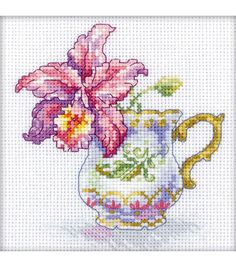 Create stunning cross-stitched projects using the RTO Orchid Counted Cross Stitch Kit 4.75 x 4.75. This cross stitch kit features a beautiful floral design in attractive colors. Stitch the 4.75 x 4.75