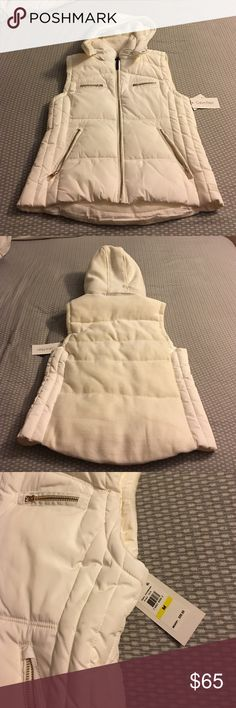Calvin Klein puffer best New with tags, Calvin Klein white puffer vest with gold accents. Calvin Klein Jackets & Coats Puffers