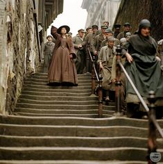 North & South: Miss Hale about to get caught up in the rush hour of the laborers going home for the day. Elizabeth Gaskell, Bbc, British Period Dramas, Brendan Coyle, Look Back At Me, Oliver Twist, North South, Period Costumes, Richard Armitage