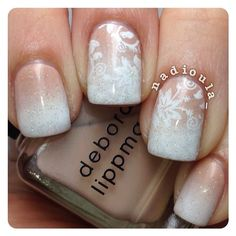 Gradient using Deborah Lippmann Naked and OPI Alpine Snow stamped using Cheeky Jumbo Plate 3 European Romance in Funky Fingers Gesso topped off with China Glaze Fairy Dust.