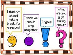 Punctuation anchor chart with the 4 basic punctuation marks. 2nd Grade Ela, 1st Grade Writing, Kindergarten Writing, Teaching Writing, Teaching English, Literacy, English Grammar, Primary English, Grade 2