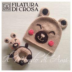 """Berrettino e gioco ad anella per bimbi #handmade realizzati con filato microfibra """"Excellent Baby"""" Filatura di Crosa Italia"""