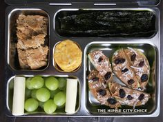 Healthy lunch box for kids. Kindergarten food. - Apples and PB with coconut and raisins - Grapes - String cheese - Vans GF crackers - Seaweed - Oatmeal muffin