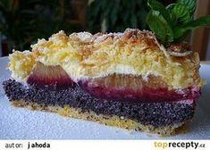 Krehký koláč s tvarohom, makom a so slivkami Queijo Cottage, Almond Cakes, Sweet Recipes, Sweet Tooth, Cheesecake, Deserts, Dessert Recipes, Food And Drink, Pie