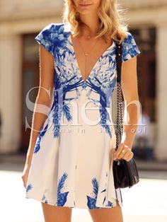 Shop White Cap Sleeve V Neck Underskirt Floral Print Dress online. SheIn offers White Cap Sleeve V Neck Underskirt Floral Print Dress & more to fit your fashionable needs. Day Dresses, Dresses Online, Short Dresses, Summer Dresses, Cruise Dress, Blue And White Dress, White Caps, Latest Dress, Dress P