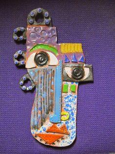 Clay Art Projects, Ceramics Projects, Kimmy Cantrell, Cubist Art, Cubism, Cubist Portraits, Self Portrait Art, Abstract Face Art, Pottery Handbuilding