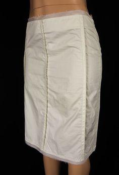 MAX MARA Skirt Size 8 M Beige Summer Lightweight Cotton Beaded Fringe #MaxMara #ALine