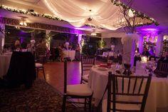 Magenta/purple wedding reception table
