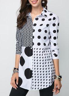 Dress Drawing by Adobe Illustrator CC Kurta Designs, Blouse Designs, Collar Shirts, Shirt Blouses, Hijab Fashion, Fashion Outfits, Polka Dot Shirt, Polka Dots, Refashioned Clothes