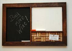 Corkboard Blackboard & Dry Erase Board Organizer by TheWineThief, $55.00