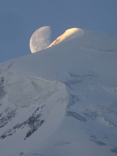 Early morning with the moon over the Dome de Gouter, Chamonix Mont Blanc Mont Blanc Ski, Chamonix Mont Blanc, Winter Running, Skiers, Ski Chalet, Winter Season, Early Morning, Moon, Seasons