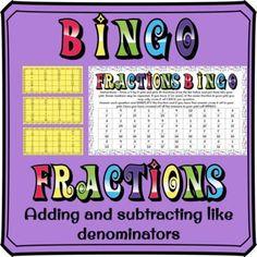 Adding and subtracting fractions BINGO Fun activity for students adding and subtracting fractions, multiple denominators, unlike denominators. Loads of questions to answer. Fraction Bingo, Math Bingo, Fraction Activities, Fun Activities, Adding And Subtracting Fractions, Math Fractions, Bingo Cards, Rounding, Ads