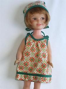 Vintage 1963 Penny Brite Orange Floral Smart Shopper Sun Dress Doll Clothes-this one had a straw tote like we carried!