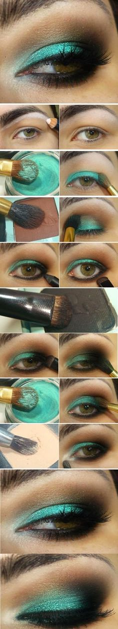 Emerlad Green Shade # Makeup Tutorials # Step by Step / Best LoLus Makeup Fashion women beauty and make up Love Makeup, Makeup Art, Makeup Tips, Makeup Looks, Makeup Tutorials, Makeup Ideas, Green Makeup, Cat Makeup, Pretty Makeup