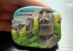 Resin Fridge Magnet, Hand Painted, 6.5 x 5 cm, Moai Statues Easter Island Chile