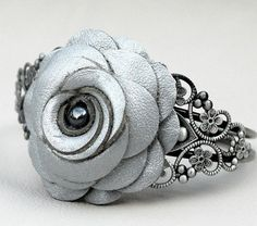 Cuff Bracelet Silver Leather Rose/Filigree by Leatherblossoms, $36.00