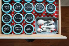 Store jarred spices in the kitchen drawer along with measuring spoons. Label chalkboard-painted lids with achalk-pen