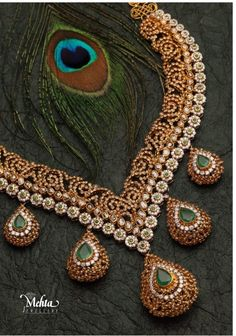 … Diamond Emerald necklace from Mehta jewellers Indian Accessories, Jewelry Accessories, Jewelry Design, India Jewelry, Temple Jewellery, Indian Wedding Jewelry, Bridal Jewelry, Bridal Necklace, Necklace Set