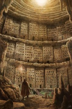 "postapocalypticflimflam: ""A tribal city built on the interior walls of a dead Cooling Tower? "" Saving this for later… -Mo! #FantasyLandscape"