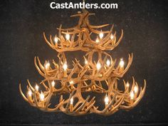 Antler Chandeliers - Whitetail 42 Cast Antler Chandelier   Rustic Lighting and…