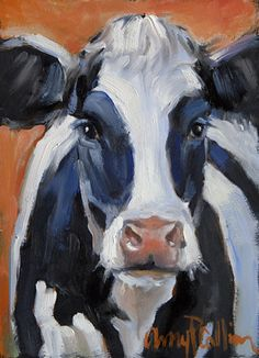 "This makes me think of my show cow named ""Woodmont Starman Patricia"", her registered name. ""Lenny"" - oil painting by Amy P."