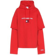 Vetements X Tommy Hilfiger Cotton-Blend Sweatshirt ($1,040) ❤ liked on Polyvore featuring tops, hoodies, sweatshirts, long-sleeved, red, red top, red sweatshirt and vetements sweatshirt