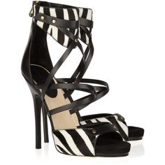 Jimmy Choo Jet calf hair and leather sandals ($370) ❤ liked on Polyvore featuring shoes, sandals, heels, jimmy choo, black, zebra sandals, stacked heel sandals, leather sandals, black high heel sandals and black heeled shoes