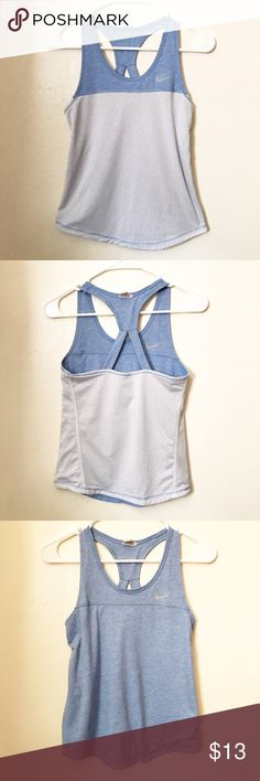 Nike reversible tank top racer back XS Good conditions size xs  reversible white in blue. Nike Tops Tank Tops