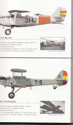 Bréguet XIX y Vickers Vildebeest, de la Aviación republicana durante la GCE.