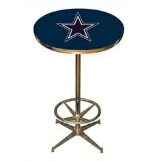 Dallas Cowboys pub table. This Cowboys pub table features a digitally reproduced logo on the table surface and is protected under a scratch and water proof surface to make sure no spills or rowdy acci