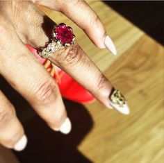 Teyana Taylor's engagement ring. I wouldn't go for a ruby but this was dope!