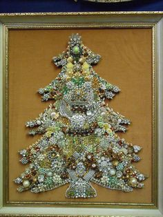 Vtg Large Jewelry Christmas Tree Brooches Bracelets Rhinestones Earrings Decor | eBay