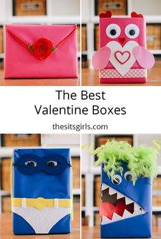 Four super cute ideas for DIY valentine card boxes. All you need is a cereal box, wrapping paper, and glue to make a cute valentine mailbox.