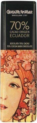 Amatler 70% Cacao Origen Ecuador... Μαύρη σοκολάτα με 70% κακάο Arriba από το Εκουαδόρ. Εντονα αρωματικό κακάο. Πολύ γευστικό, ελαφρώς έως καθόλου πικρό με απαλή καβουρδισμένη γεύση με μία νότα απροσδιόριστη αλλά ευχάριστη. Από τις νόστιμες μαύρες. Chocolate World, Ecuador