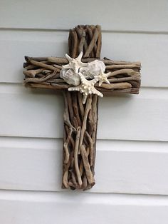 Driftwood Seashell Cross by My Honeypickles