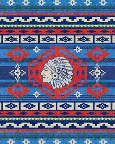 SouthWest-Indian Blanket-Native American-Vintage Print-Rustic Americana-Antique