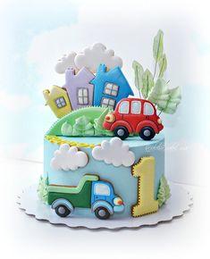 2nd Birthday Cake Boy, Rustic Birthday Cake, Happy Birthday Boy, Little Boy Cakes, Cakes For Boys, Baby Boy Cookies, Fairy Cakes, Cookie Decorating, Amazing Cakes