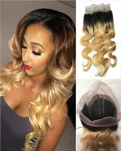 Ombre Brazilian Remy Hair Density Body Wave 360 Lace Band Frontal Closure  With Baby Hair  Natural Hairline For Black Women 3cb3de2213