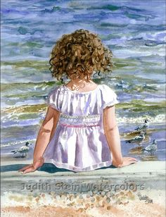 BEACH GIRL Bird Toddler Seagulls 11x15 por steinwatercolors en Etsy, $40.00