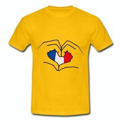 T-shirt Jaune France bleu blanc rouge: cœur France drapeau Français