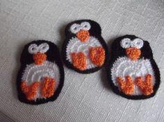 3 Pcs Cotton Crochet Applique Penguin...