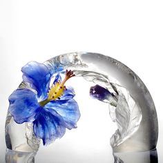 """A Chinese Liuli Flower (Hibiscus Sculpture) - """"Song of the Morning Flower"""""""