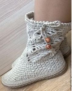 Купить Сапожки льняные короткие - бежевый, обувь вязаная, сапожки летние, обувь крючком
