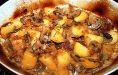 Agnello con funghi e patate