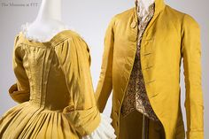 (left) Dress, yellow silk faille, c. 1770, USA (possibly), Museum purchase. / (right) Men's coat, yellow silk, c. 1790, USA (possibly), Museum purchase.