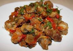 Meat, stewed with mushrooms Ingredients: Pork meat (beef) — 800 g Mushrooms — g Sweet pepper – 1 PC. Stuffed Sweet Peppers, Stuffed Mushrooms, Pork Meat, Good Food, Yummy Food, Cook At Home, Russian Recipes, Vegetable Recipes, Food Hacks