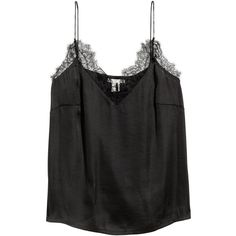 H&M Satin Top with Lace $14.99 ($15) ❤ liked on Polyvore featuring tops, black and lace
