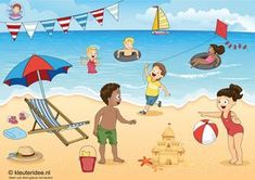 TOUCH this image: Interactieve praatplaat, thema zomer, kleuteridee.nl by juf Petra Language Activities, Writing Activities, Picture Comprehension, Kindergarten Songs, Picture Composition, Shapes For Kids, Picture Writing Prompts, School Themes, Summer Pictures