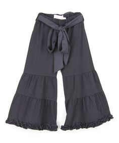 Another great find on #zulily! Black Ruffle Flare Pants - Infant, Toddler & Girls #zulilyfinds